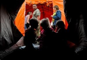Лагерь украинских беженцев в Ростовской области.