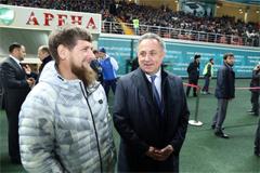 Кадыров и Мутко после матча Россия-Румыния