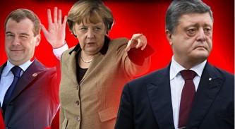 Медведев, Меркель и Порошенко