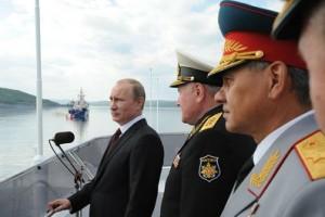 Владимир Путин на праздновании Дня военно-морского флота В Североморске.