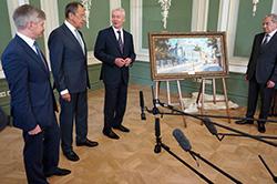 Сергей Лавров и Сергей Собянин на открытии Усадьбы Суворова